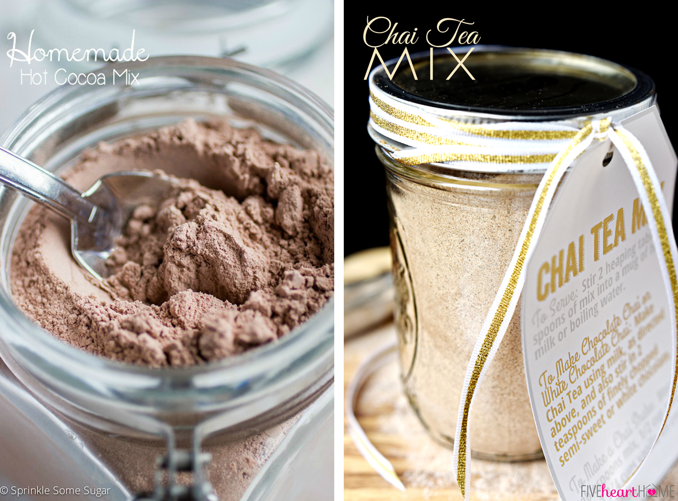 Last Minute DIY Valentine's Day Gift Ideas - Hot Chocolate and Chai Tea Mixes via Sprinkle Some Sugar and Five Heart Home | http://www.roseclearfield.com