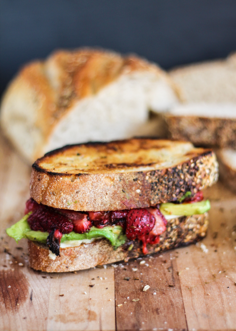 Roasted Strawberry Avocado and Mozzarella Grilled Cheese via Ambitious Kitchen | http://www.roseclearfield.com