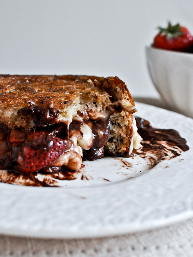 Dessert Grilled Cheese Recipes - Roasted Strawberry, Brie, and Chocolate Grilled Cheese via How Sweet It Is | http://www.roseclearfield