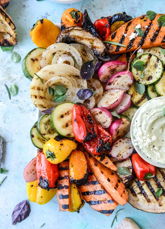 Memorial Day Inspiration - Marinated Grilled Vegetables with Avocado Whipped Feta via How Sweet Eats | https://www.roseclearfield.com