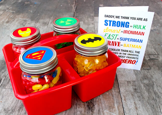 Last Minute DIY Father's Day Gift Ideas - Father's Day Superhero Gift with Free Printables via Sandy Toes and Popsicles | http://www.roseclearfield.com