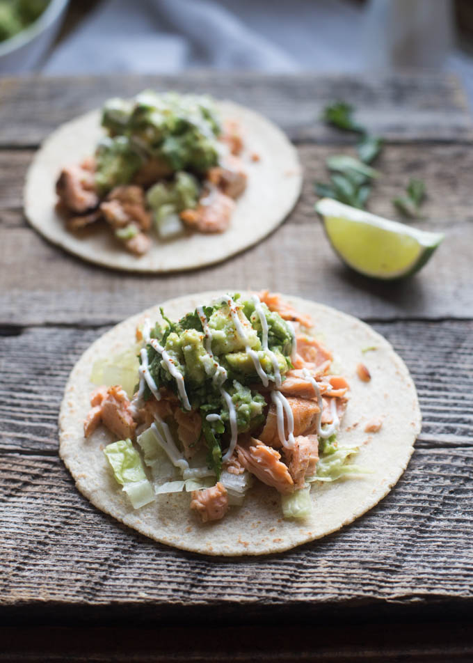 30 Days of Healthy Grilling Recipes - Grilled Salmon Tacos with Avocado Queso Fresco Salsa via Boys Ahoy | http://www.roseclearfield.com