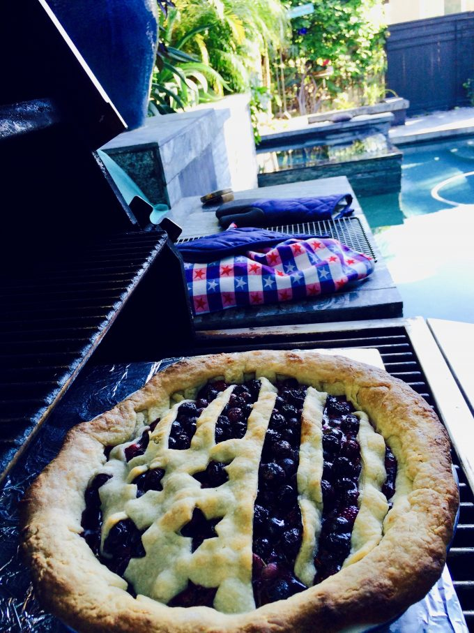 30 Days of Grilled Desserts - Grill Baked Blueberry Pie via Delicious Table | http://www.roseclearfield.com