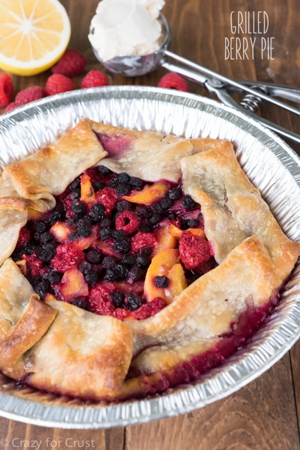 30 Days of Grilled Dessert - Grilled Berry Pie via Crazy for Crust | http://www.roseclearfield.com