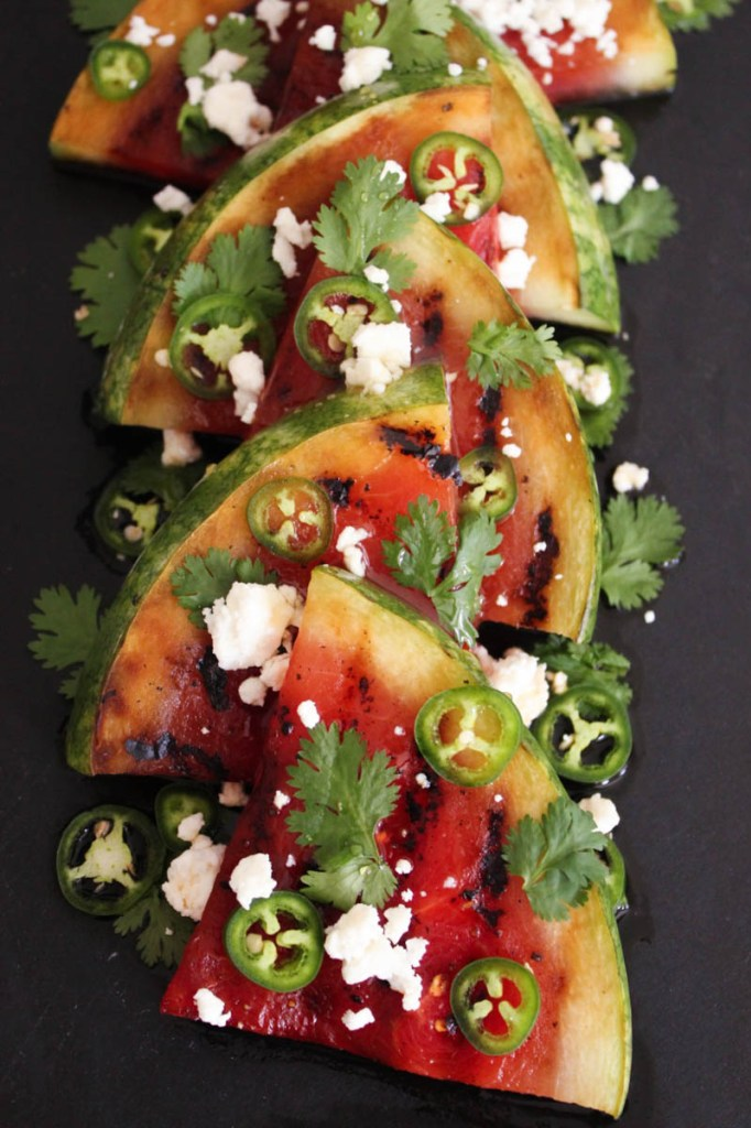 30 Days of Grilled Desserts - Grilled Watermelon with Jalapenos, Feta, and Honey via Domesticate Me | https://www.roseclearfield.com