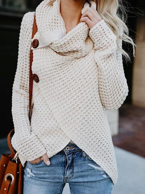 Casual Long Sleeve Front Cross Sweater via She Lovin | http://www.roseclearfield.com