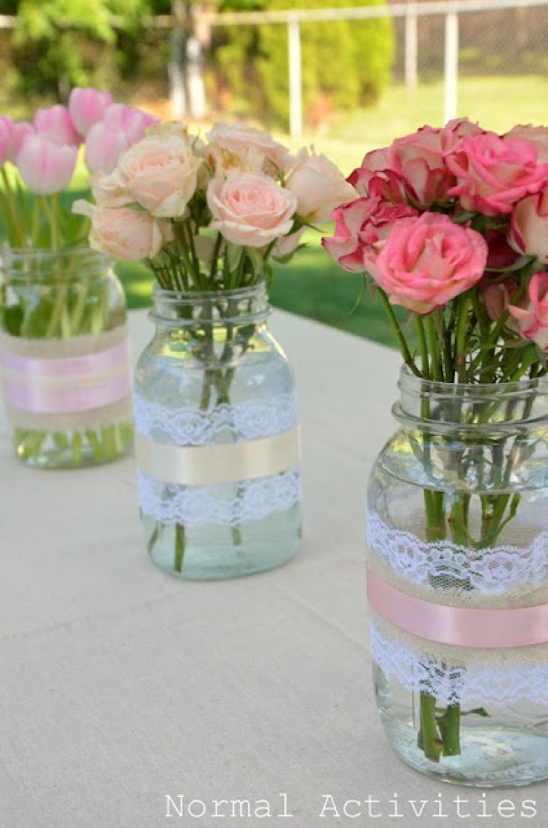 Spring Mason Jar Decor - Lace and Ribbon Wrapped Mason Jar Vases via Normal Activities | http://www.roseclearfield.com