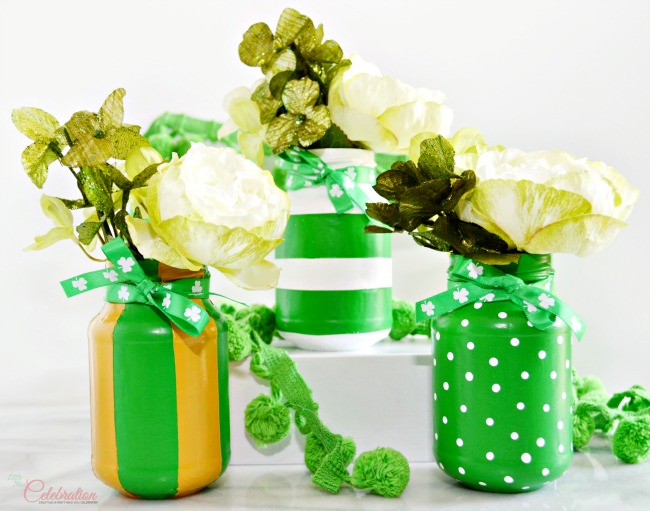 Lucky Green Painted Mason Jars Little Miss Celebration via A Little Claireification | http://www.roseclearfield.com