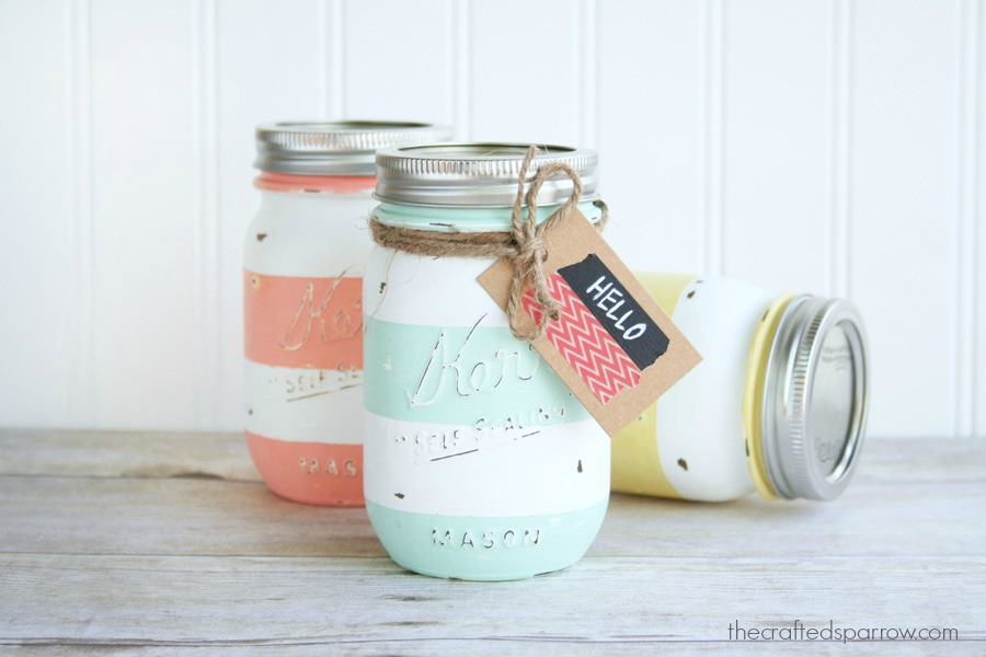 Spring Mason Jar Decor - Spring Inspired Striped Mason Jars via The Crafted Sparrow | http://www.roseclearfield.com