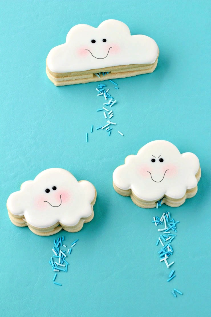 April Showers Bring May Flowers - Cloud Cookies That Actually Rain via The Bearfoot Baker | http://www.roseclearfield.com