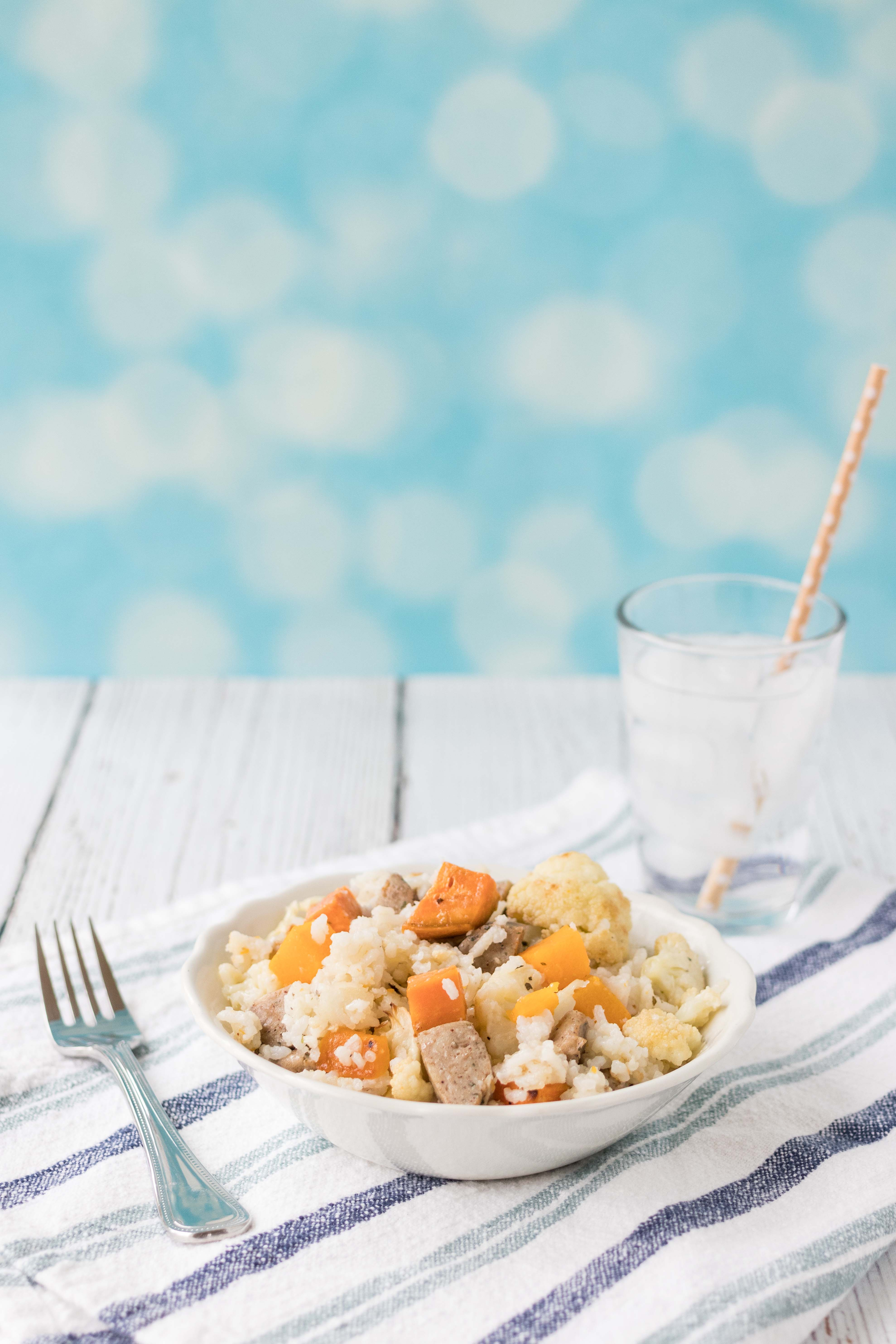 Coconut Rice with Vegetables and Chicken Sausage | http://www.roseclearfield.com