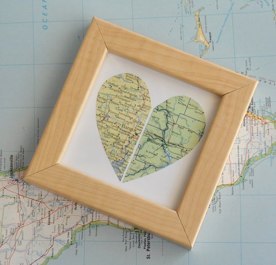 Mother's Day Gift Ideas for Birth Moms - Long Distance Relationship Map via Ekra on Etsy | http://www.roseclearfield.com