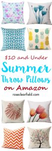 $10 and Under Summer Throw Pillows on Amazon | https://www.roseclearfield.com