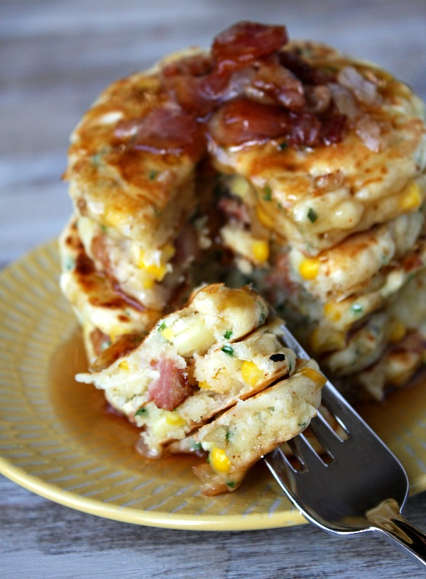 Breakfast for Dinner Ideas - Bacon and Corn Griddle Cakes via Recipe Girl | http://www.roseclearfield.com