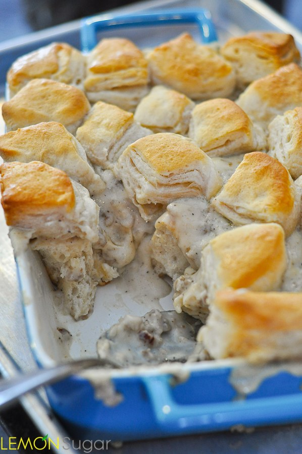 Breakfast for Dinner Ideas - Biscuits and Gravy Casserole via Lemon Sugar | http://www.roseclearfield.com