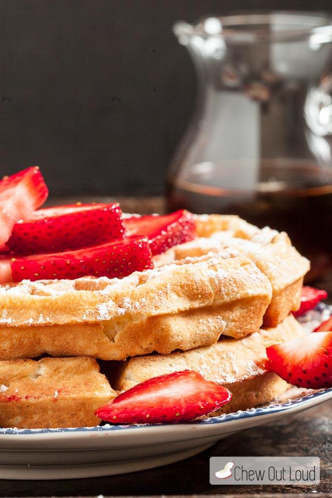 Breakfast for Dinner Ideas - Fluffy Belgian Waffles via Chew Out Loud | http://www.roseclearfield.com