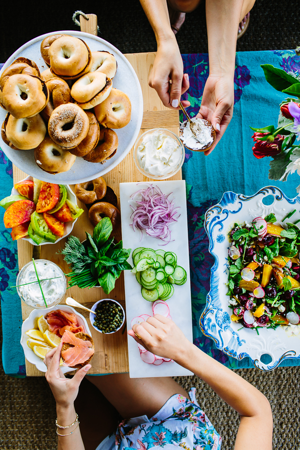 Breakfast for Dinner Ideas - How to Set Up the Perfect Bagel Bar via Camille Styles | http://www.roseclearfield.com