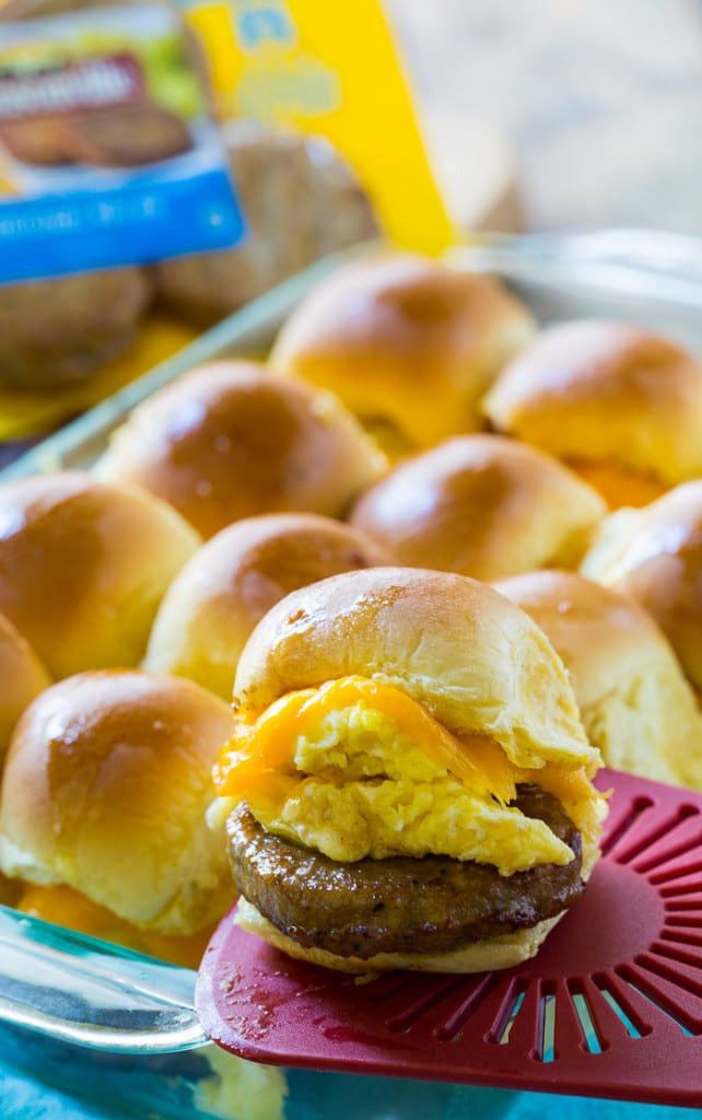Breakfast for Dinner Ideas - Sausage and Egg Breakfast Sliders via Spicy Southern Kitchen | http://www.roseclearfield.com