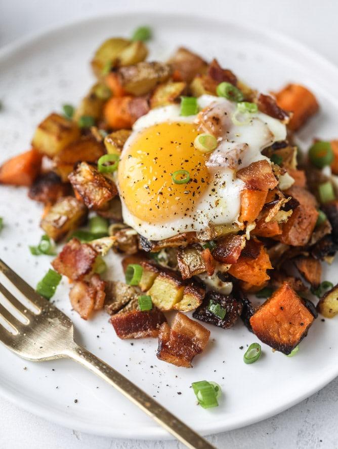Breakfast for Dinner Ideas - Sweet Potato Sheet Pan Breakfast Hash via How Sweet Eats | http://www.roseclearfield.com