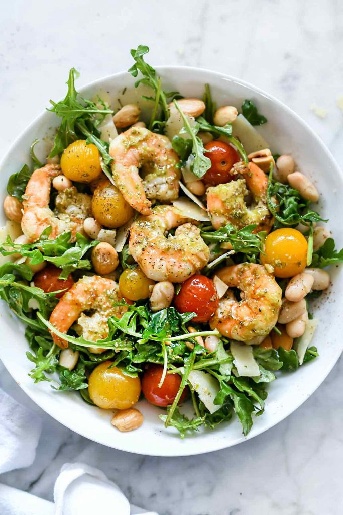 Back to School Healthy Lunches for Adults - Arugula Salsad with Pesto Shrimp Parmesan and White Beans via Foodiecrush | http://www.roseclearfield.com