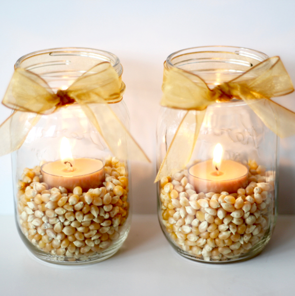 DIY Fall Mason Jar Decor - Fall Mason Jar Popcorn Kernal Luminary via The Frugal Girls | http://www.roseclearfield.com