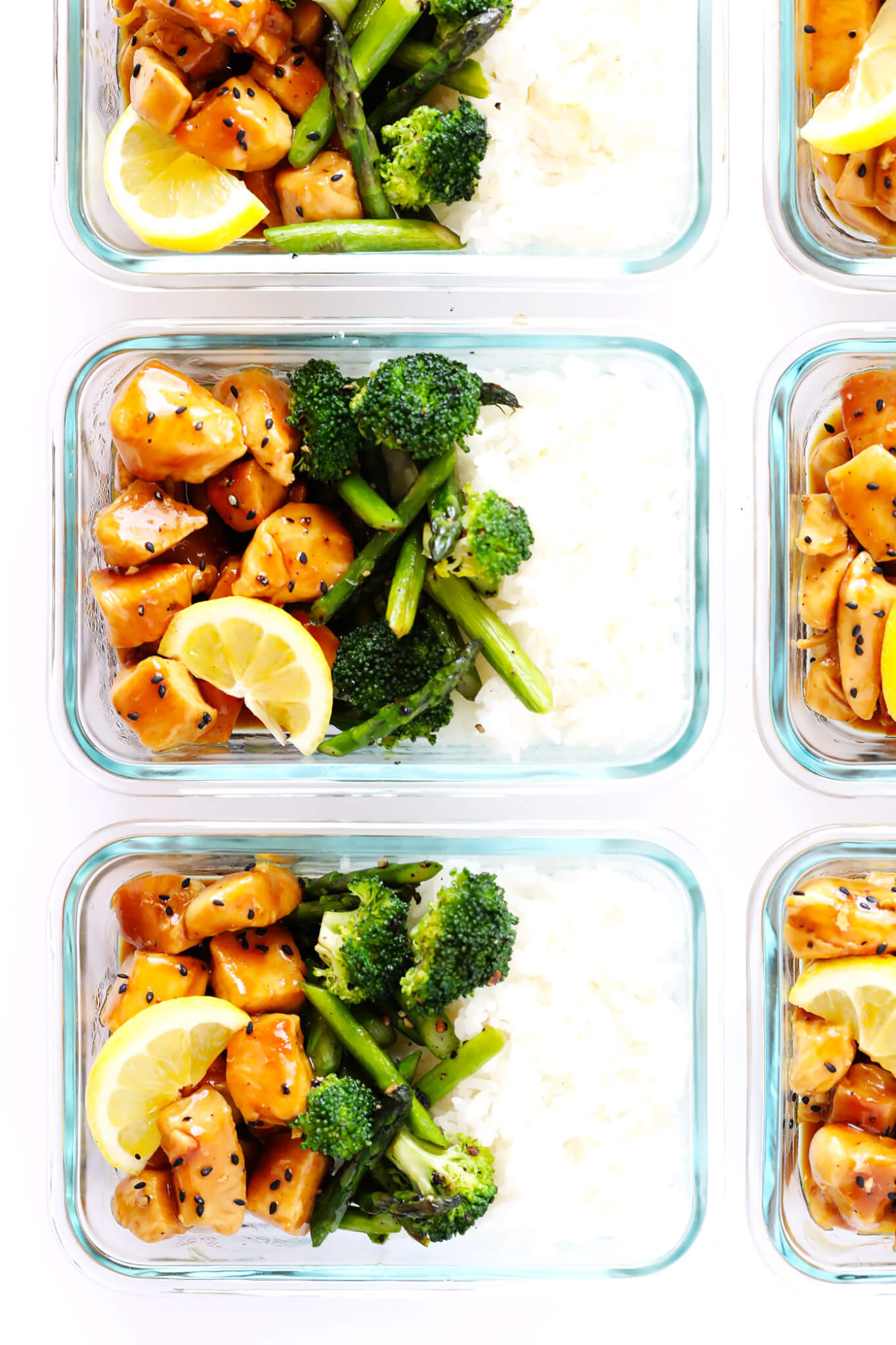 Back to School Healthy Lunches for Adults - Honey Lemon Chicken Bowls via Gimme Some Oven | http://www.roseclearfield.com