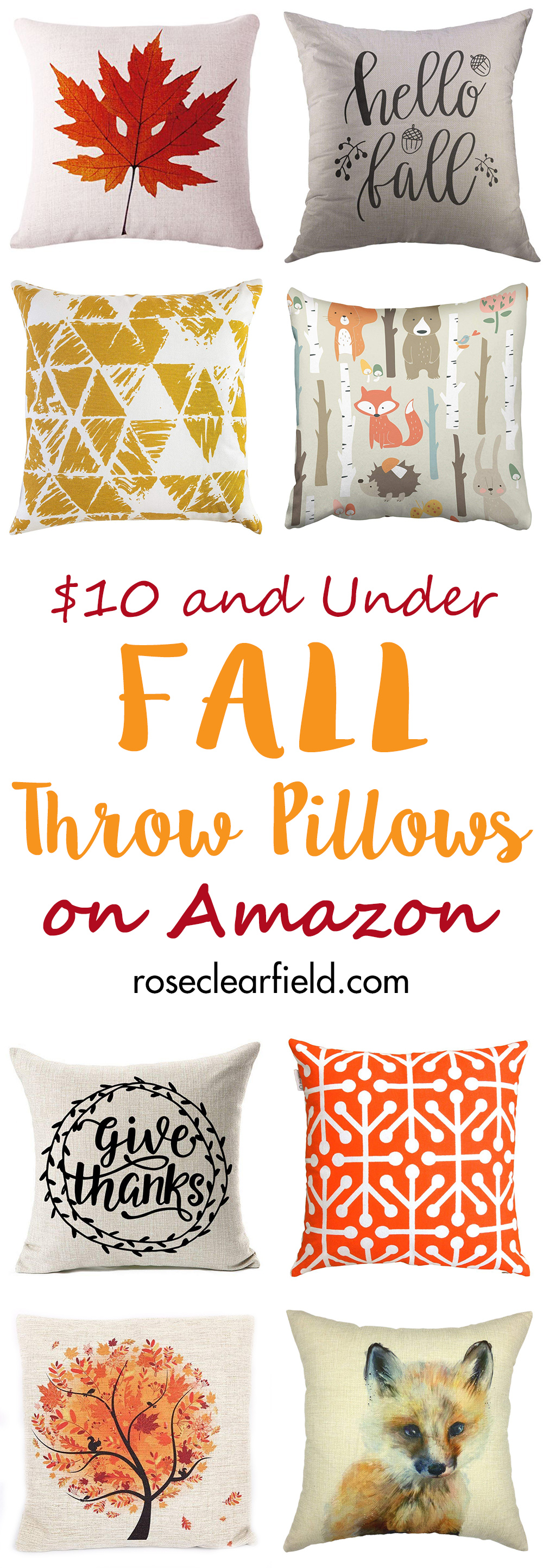 $10 and Under Fall Throw Pillows on Amazon | http://www.roseclearfield.com