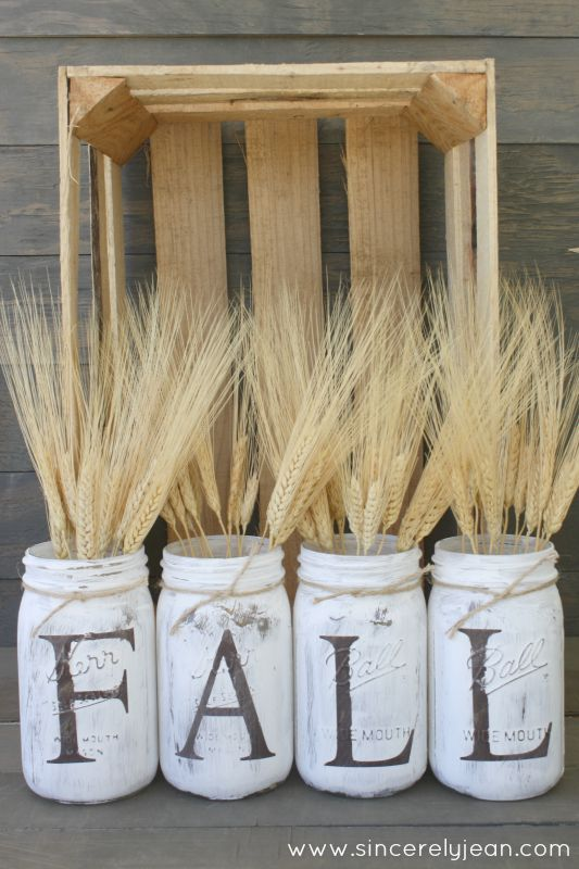 DIY Fall Mason Jar Decor - Rustic Fall Letter Mason Jars via Sincerely Jean | http://www.roseclearfield.com