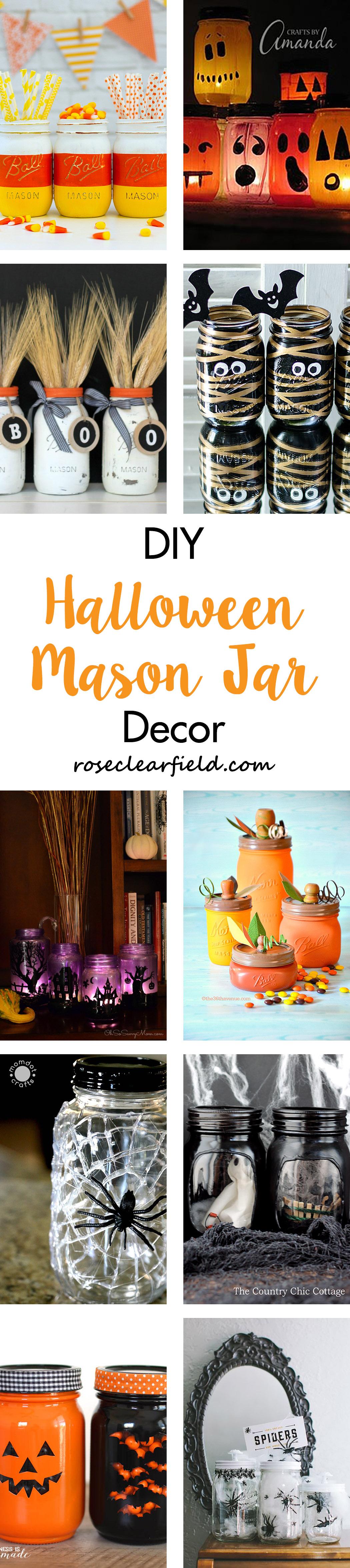 DIY Halloween Mason Jar Decor | http://www.roseclearfield.com