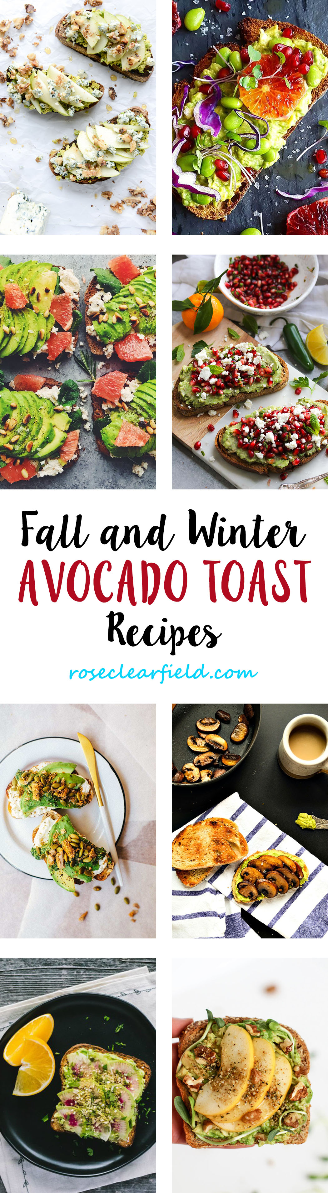 Fall and Winter Avocado Toast Recipes | http://www.roseclearfield.com