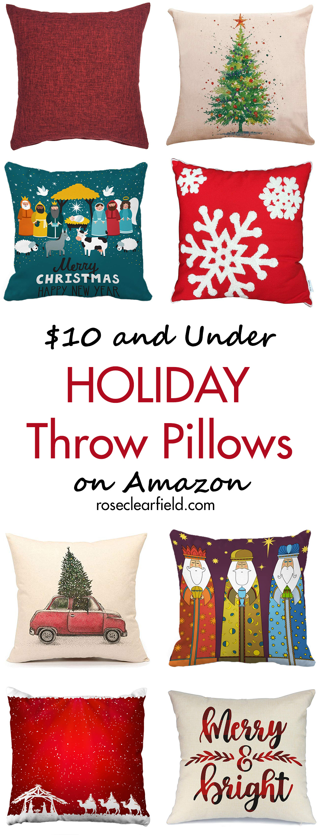 $10 and Under Holiday Throw Pillows on Amazon | https://www.roseclearfield.com