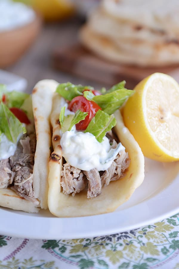 30 Days of Healthy Slow Cooker Dinner Recipes - Tender Greek Pork via Mel's Kitchen Cafe | http://www.roseclearfield.com