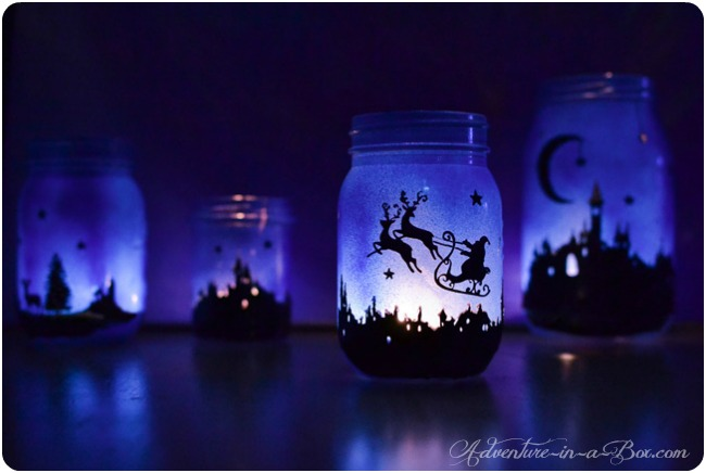 DIY Christmas Mason Jar Decor - Magical Christmas Lanterns via Adventure in a Box | https://www.roseclearfield.com
