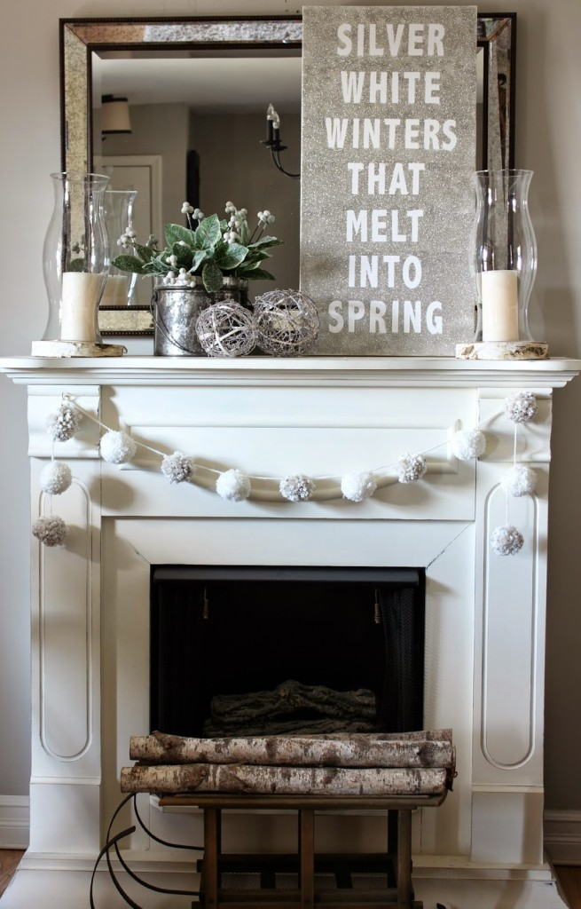 Post-Christmas Winter Mantel Inspiration - Silver White Winters Glitter Canvas via Hymns and Verses | https://www.roseclearfield.com