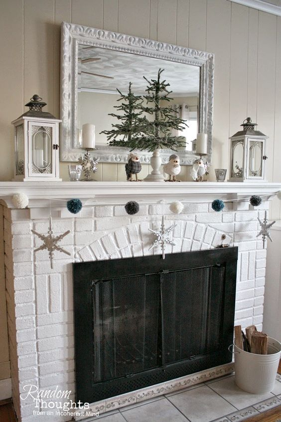 Post-Christmas Winter Mantel Inspiration - Winter Mantel 2015 via Random Thoughts Home | https://www.roseclearfield.com
