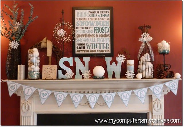 Post-Christmas Winter Mantel Inspiration - Winter Mantel via My Computer is My Canvas | https://www.roseclearfield.com