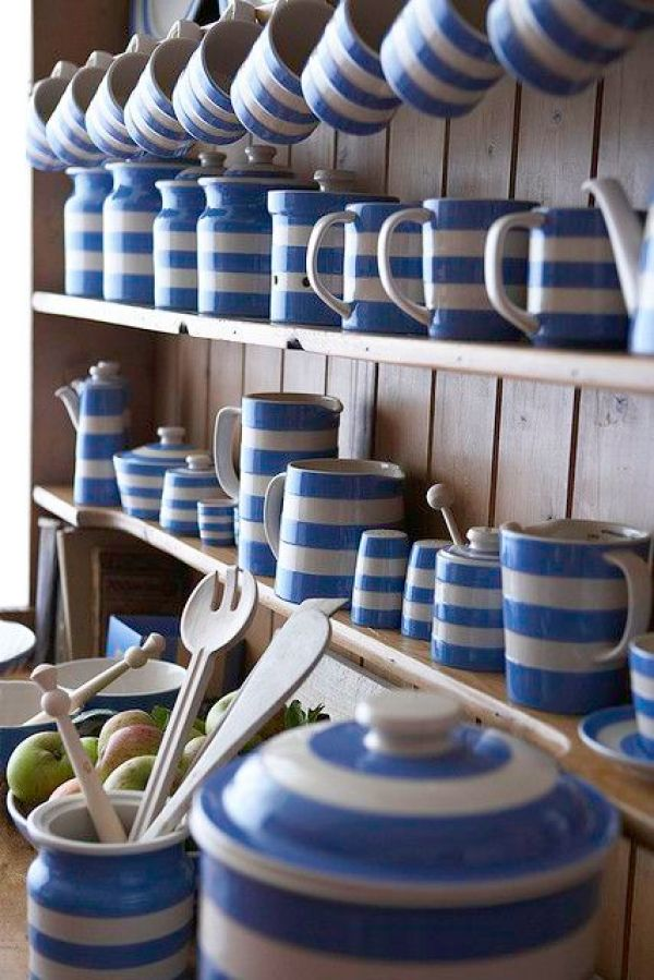 Stripes Inspiration - Blue and White Striped Cornishware via Tinned Tomatoes | https://www.roseclearfield.com