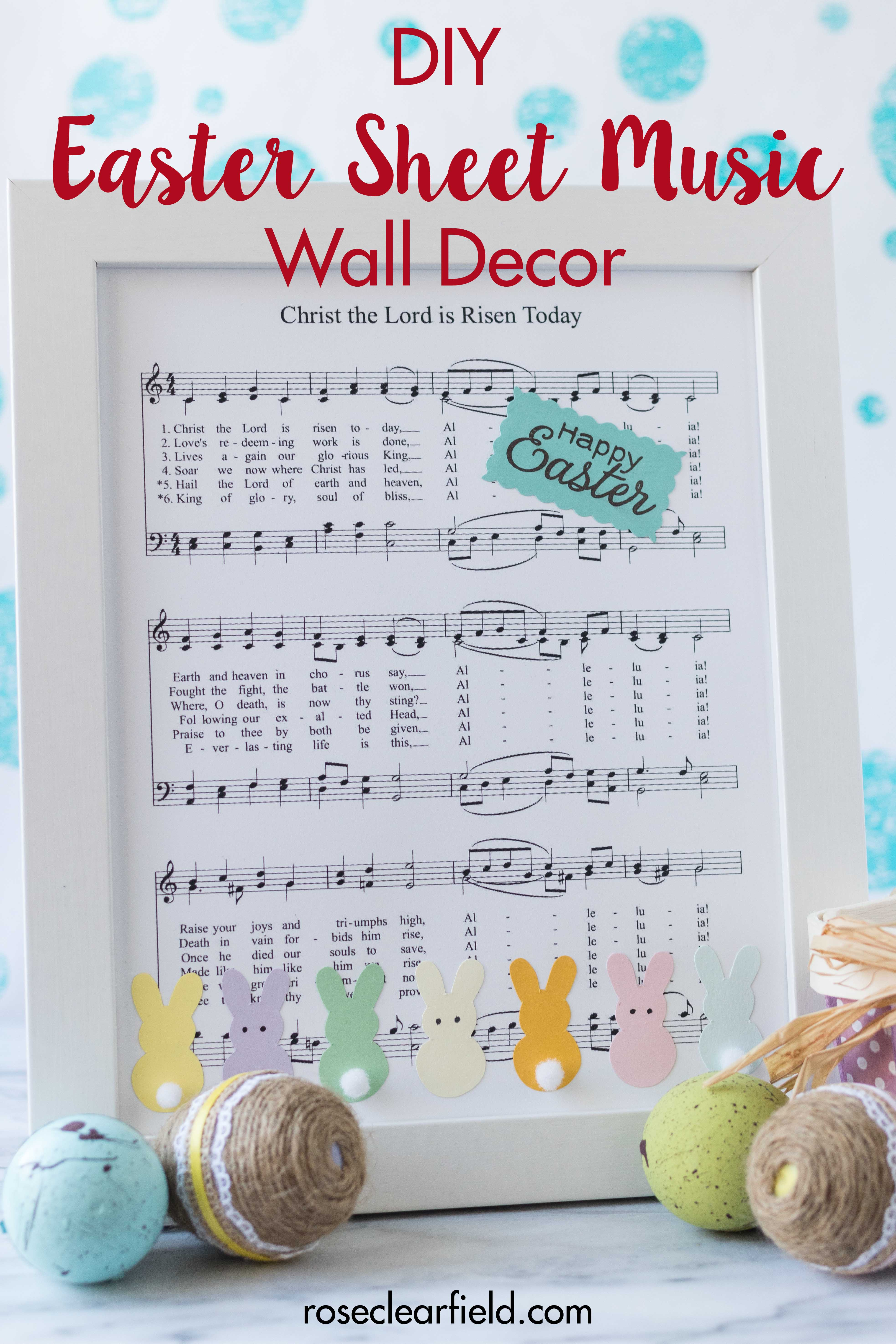 Create your own DIY Easter sheet music wall decor. This simple soft pastel piece will complete your Easter decorations with ease! #Easter #DIY #sheetmusic #walldecor | https://www.roseclearfield.com