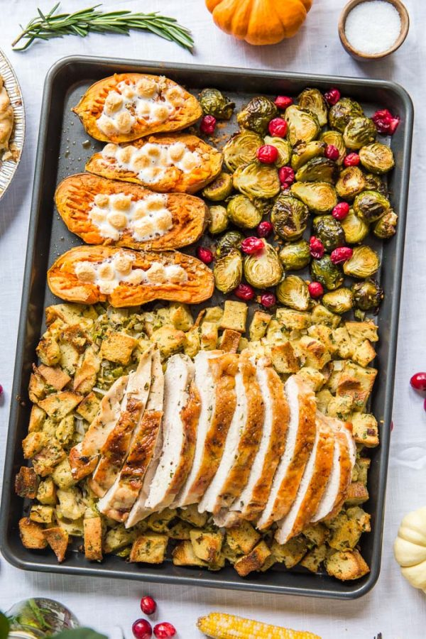 30 Healthy Dinner Recipes for Two - Sheet Pan Thanksgiving Dinner for Two via Food With Feeling | https://www.roseclearfield.com