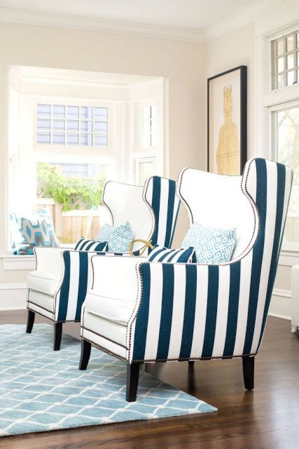 Stripes Inspiration - Striped Chairs via Kovi Fabrics | https://www.roseclearfield.com