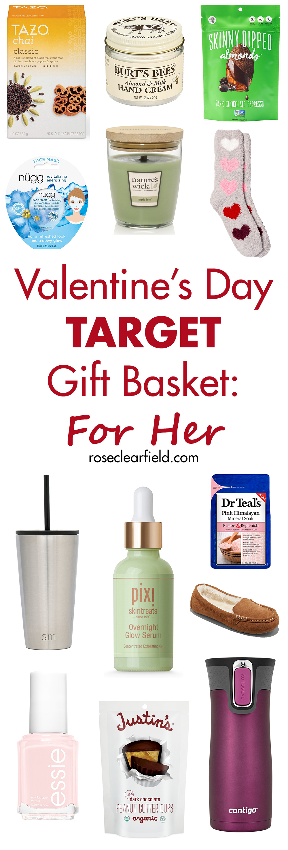 Valentine's Day Target Gift Basket: For Her | https://www.roseclearfield.com