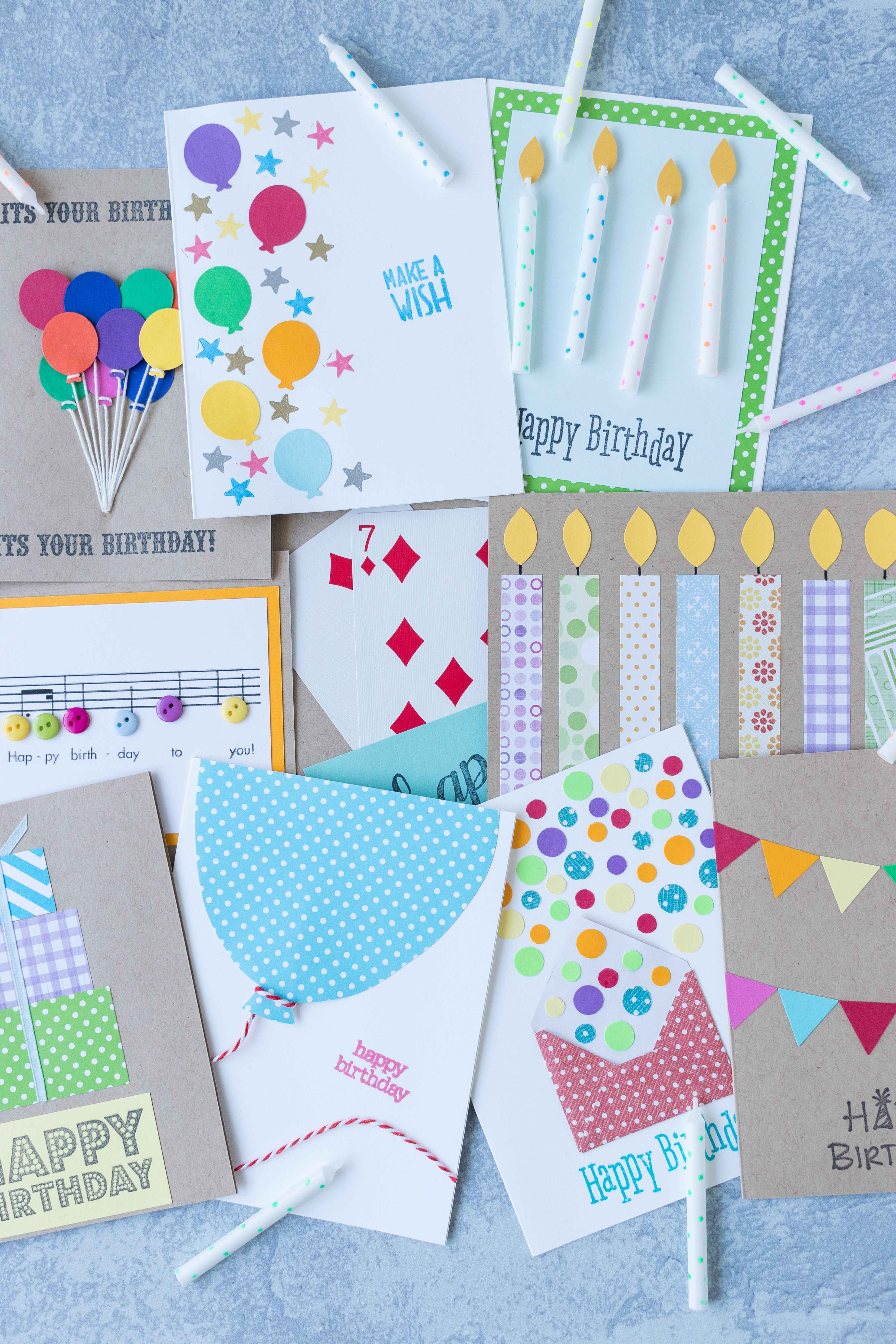 Simple DIY birthday card inspiration to keep you making cute handmade birthday cards all year long! #DIY #birthdaycards #greetingcardinspiration | https://www.roseclearfield.com