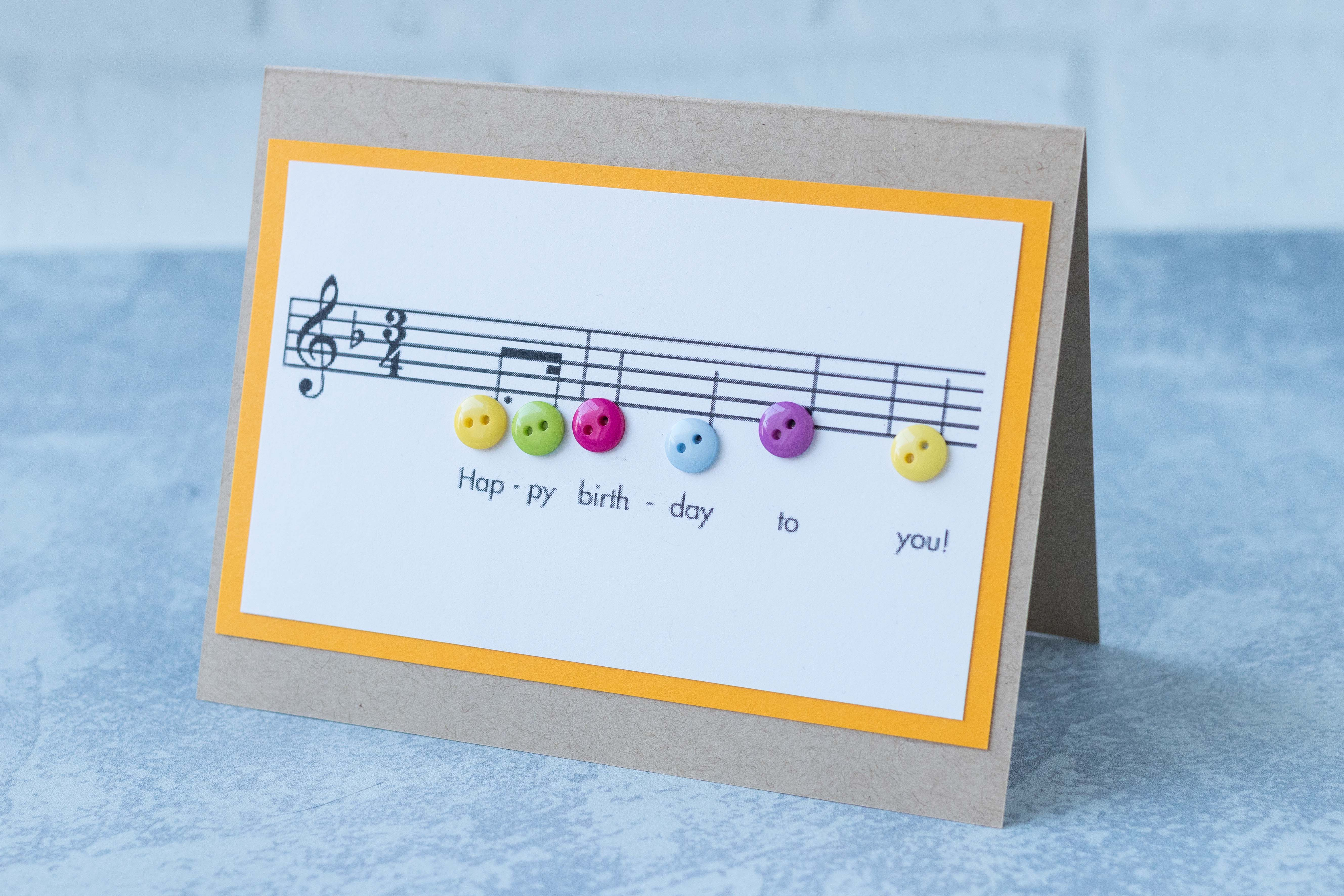 Happy birthday sheet music with buttons card, inspired by Nikelcards on Etsy. #birthdaycard #sheetmusic #happybirthday | https://www.roseclearfield.com