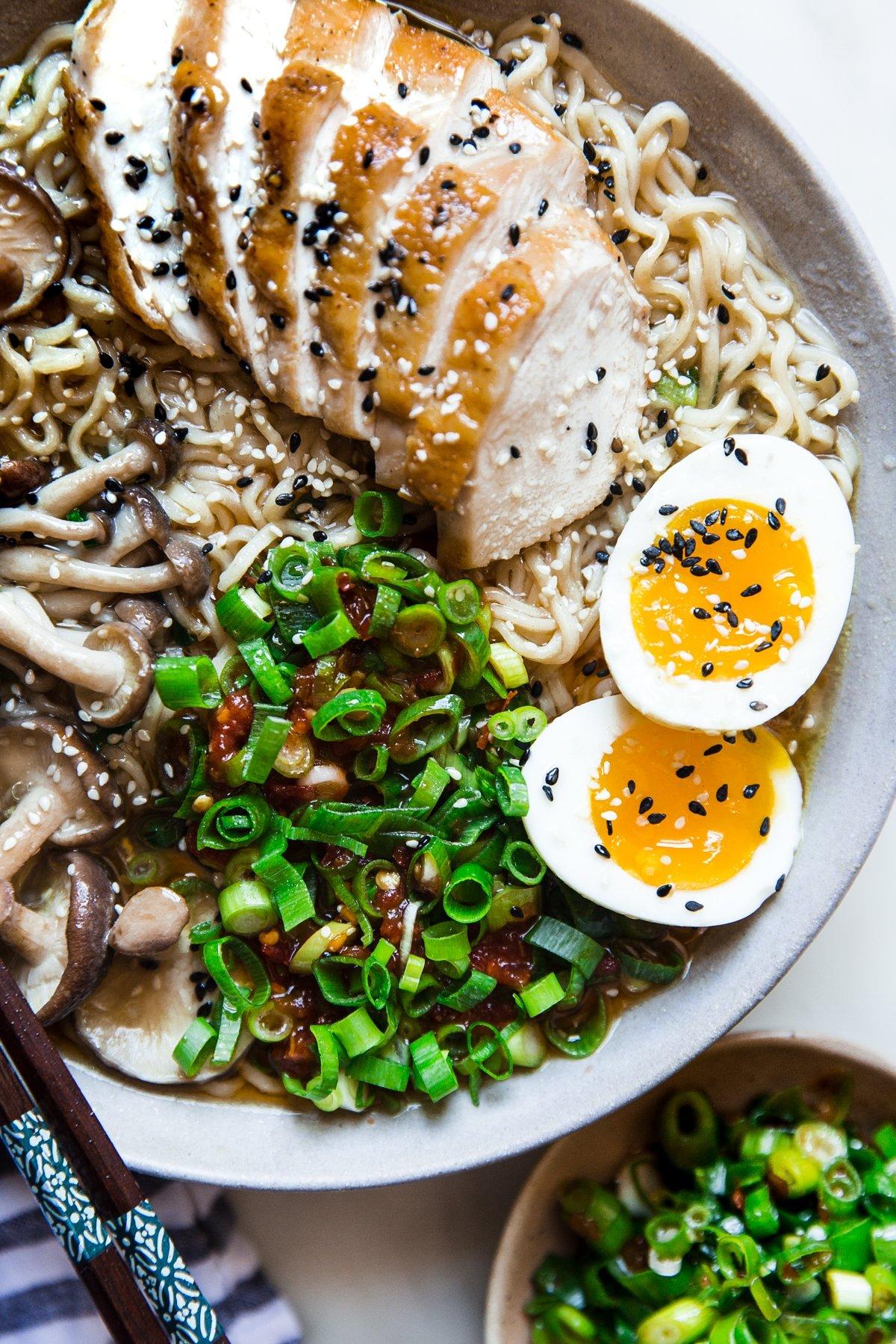 30 Healthy Ramen Noodle Recipes - Easy Chicken Ramen Soup via The Modern Proper   https://www.roseclearfield.com
