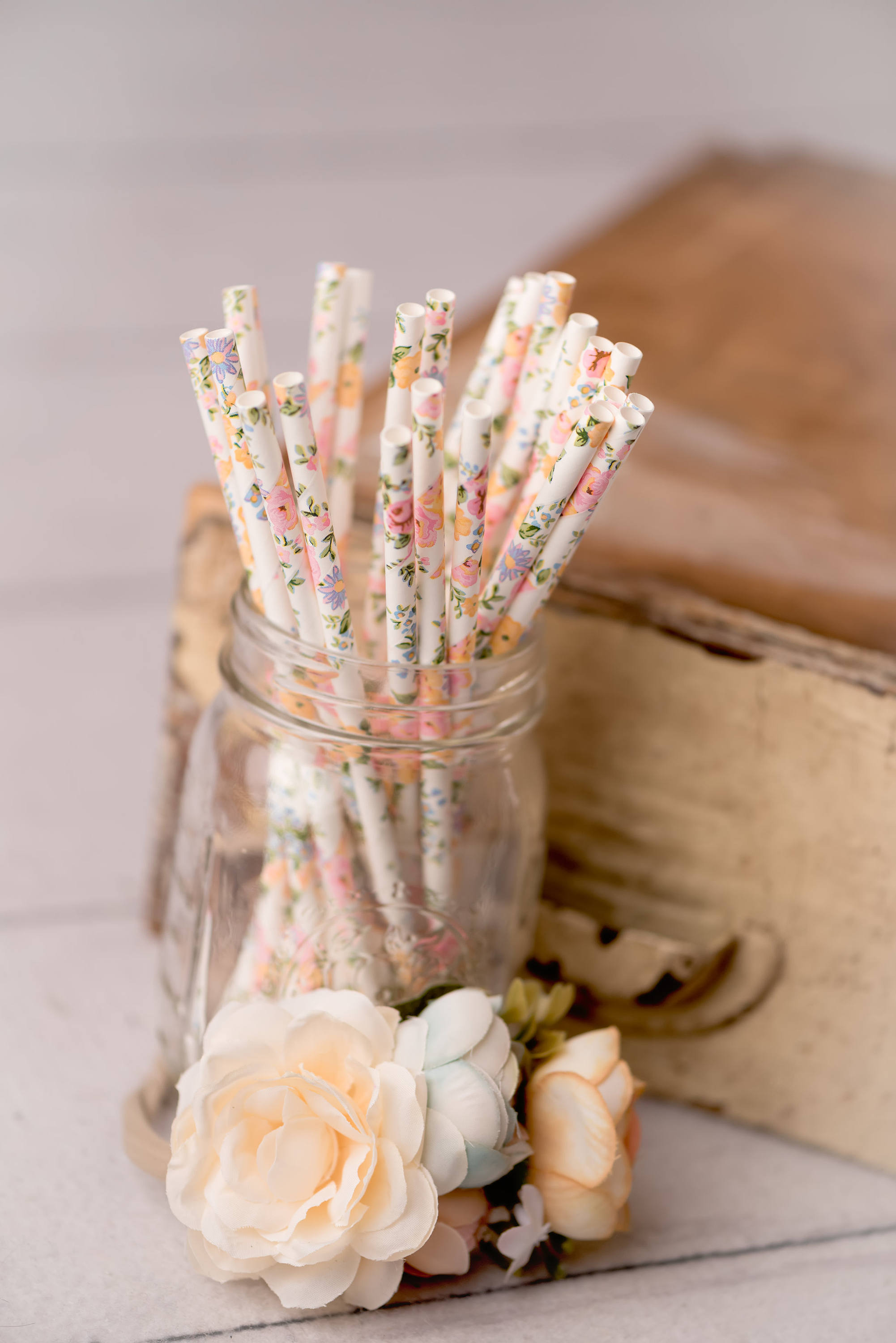 Little floral details, such as floral paper straws, pull the floral theme together at a baby shower or wedding, via dearestjane on Etsy. #floral #floraltheme #babyshower   https://www.roseclearfield.com