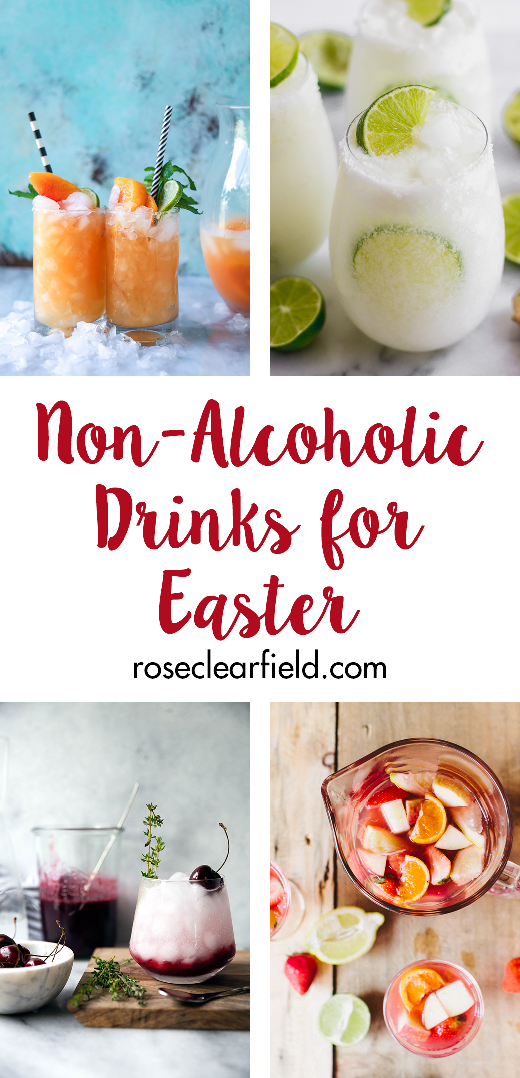 Non-alcoholic drinks for Easter. Whip up a refreshing beverage for your holiday brunch or dinner! #nonalcoholic #springdrinks #Easter | https://www.roseclearfield.com