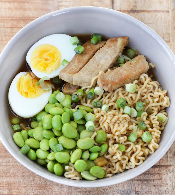 30 Healthy Ramen Noodle Recipes - Pork Ramen Bowls with Edamame via Greens and Chocolate | https://www.roseclearfield.com