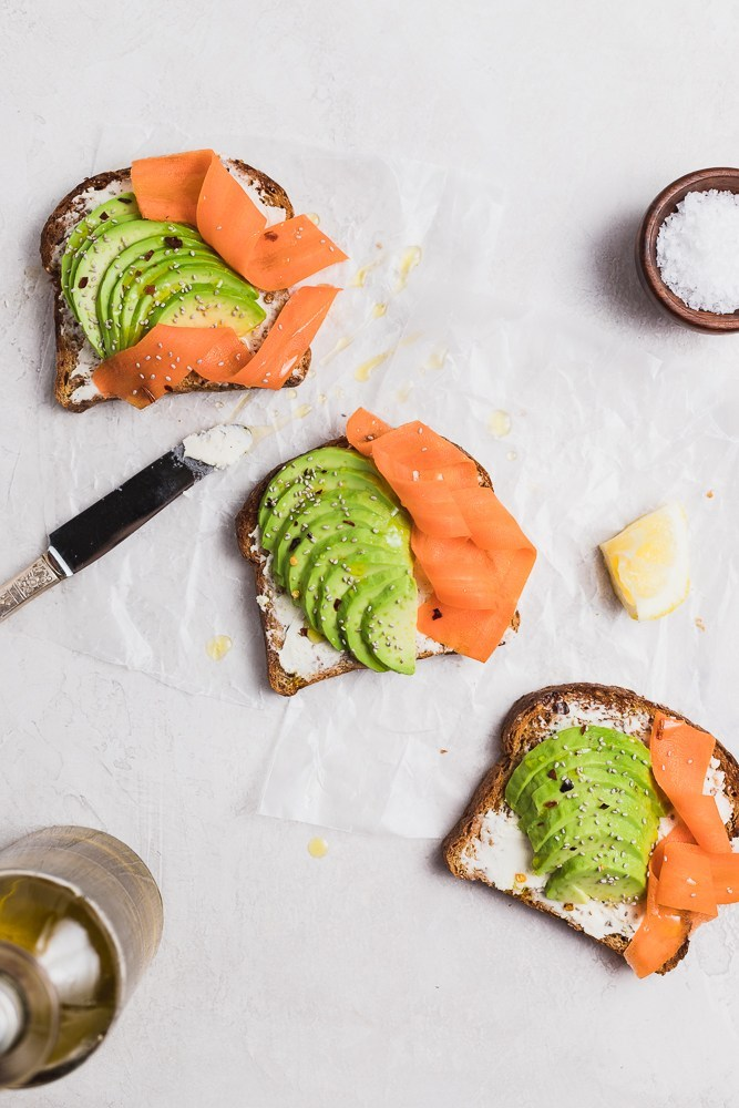 Avocado toast with goat cheese spread and carrot. Perfect flavors for spring! via Danilicious Dishes #avocadotoast #healthyeating #breakfastideas | https://www.roseclearfield.com