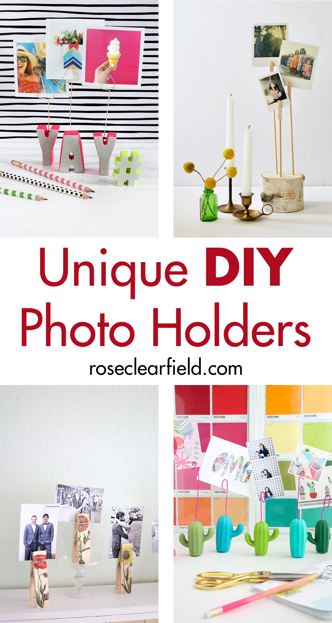 Unique DIY photo holders. Add a pop of color or personalized touch to your home decor! #DIY #homedecor #photoholders | https://www.roseclearfield.com