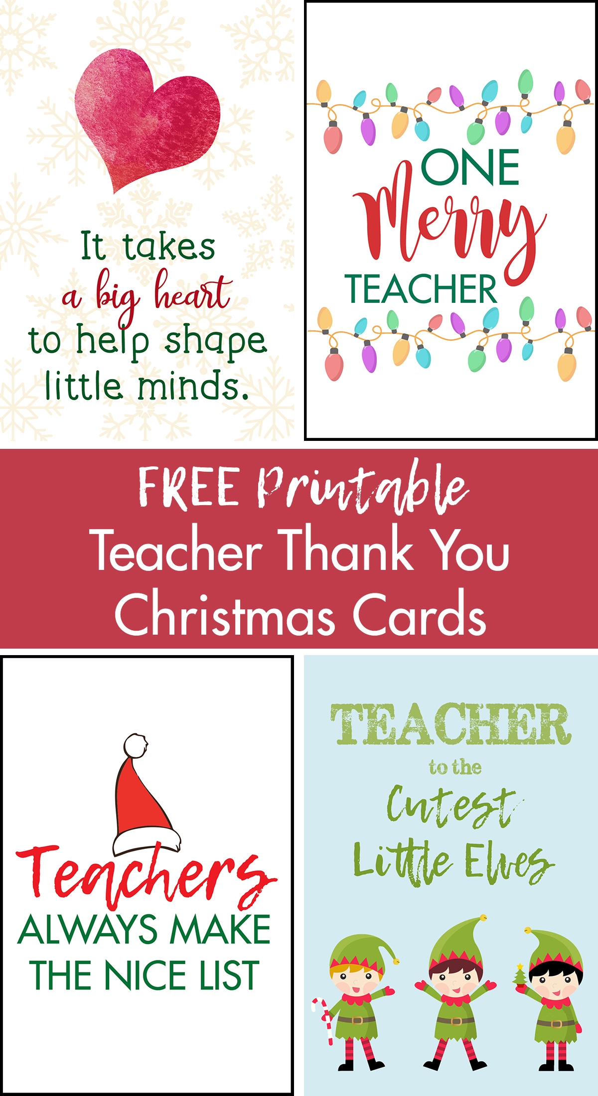 Free Printable Teacher Thank You Christmas Cards Rose